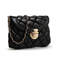 Fashion Woman Handbag Quilted Genuine Leather Diagonal Mini Package Chain Handbag Small Fragrant Shoulder Bag 5-Colors Optional