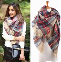 Women Blanket Oversized Tartan Scarf Wrap Shawl Plaid Cozy Checked Beige