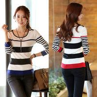 2014 Fashion Spring Autumn Korean Style Women Slim striped bottoming pullover sweater t-shirts W8323
