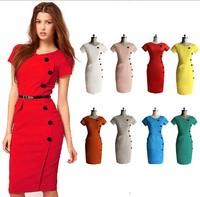 Wholesale Women Dresses Spring Vintage Slim Pencil OL Dress Short Sleeve Bodycon Sheath Dress High Waist Party Wiggle Dress