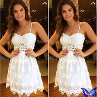 New 2015 Women Clothes Crochet White Lace Dress Sexy Backless Spaghetti Strap Club Dress Vestido De Festa Com Renda Hot Sale