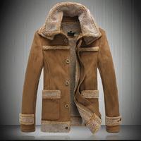 2015 winter leather jacket men turn-down casual slim short warm fur coat woolen inside high quality jaqueta couro khaki