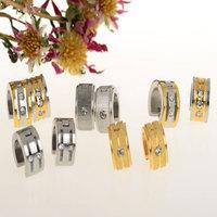 Trendy Men/Women Punk Stainless Steel Crystal Earrings Gold/Silver/Black 316L Stainless Steel Hoop Earrings Huggie Unisex