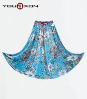1297C YouAxon Plus Size Blue Chiffon Floral Flower Print Pleated Long Maxi High Waist Saias Longa Femininas For Women a+ Skirt