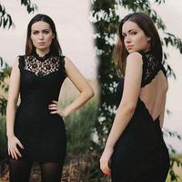 2014 New Fashion  European Style women party dresses casual Sleeveless Slim halter sexy lace mini dress vestidos SCF78