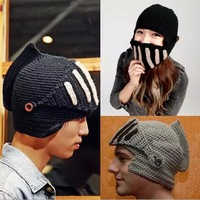 New 2014 Roman Knight Helmet Caps Cool Handmade Knit Ski Warm Winter Hats Men Women Gift Funny Party Mask Beanies 3007