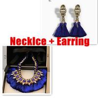 European Brand Gold Plated Metal Black Silk Ribbon Chain Royal Blue Crystal Rhinestone Thread Tassels Earring Set Women Dress