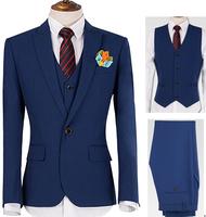 men business suits set acket +pant +vest  navy blue Male blazer the groom wedding dress slim commercial men's formal suits