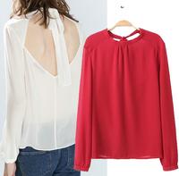 Blusas Femininas 2014 Fashion Ladies' Sexy Backless Drawstring Chiffon Blouses O Neck Solid Women Shirts Casual Slim Brand Tops