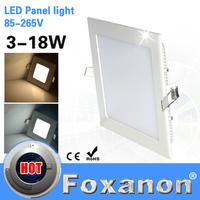 Foxanon Brand Led Panel Light 85-265V 220V 110V 3W 6W 9W 12W 15W 18W square Ceiling lamps Ultra bright slim downlight Lighting