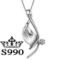 Leaf shape 99 sterling silver pendant S990