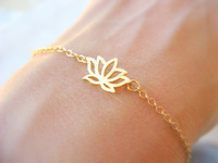 Wholesale 10pcs/lot-2015 Gold/Silver PVD Stainless Steel Jewelry Tiny Lotus Statement Chain Bracelet for Women