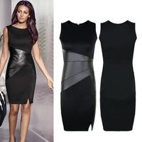 New Fashion Woman Dress Slim OL Leather Patchwork Casual Pencil Dress Bodycon Sleeveless Elegant Party Sexy Dress Vestido SCF86