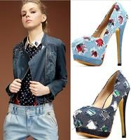 women shoes 2015 spring fashion pumps high heels shoes for women thin high heels pumps platform jeans shoes for women 14cm heel