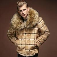New 2014 Winter Fashion Luxury Men Clothing Plaid Warm Mens Fur Coat Large Fur Collar Personality Male Thermal Overcoat Khaki