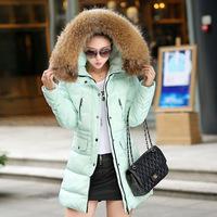 2015 Thick Coats Zipper Coats Winter Coat New Korean Fashion Slim Down Padded Collar Nagymaros Girls Long Section Of Raccoon