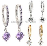 Women Crystal Rhinestone Hoop Earrings Crystal Pendant Silver/Gold Plated Hoop Earrings Hook Lady Charm Earrings