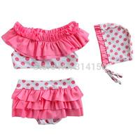 Vivo-biniya 2015 New Girls Swimwear Children Two-Piece Bathing Suit Lace Dot Baby Girls Bikini Swimming Swimsuit Free Shipping