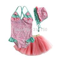 Vivo-biniya Girls Swimwear Three-Piece Girls Bathing Suit Sleeveless Flowers One Piece+Tutu Dress +Hats Swimsuit Free Shipping