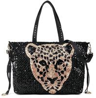 Free shipping New fashion women's Leopard messenger bag pu leather handbag sequins single-shoulder bag tassel chain bag