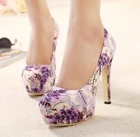 2015 fashion women high heel shoes plant purple cotton prints thin heels pumps high-heeled shoes women's shoes platform heels