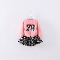 Boutique girls pink lovely winter clothes set  Pink woolen sweater coat + floral printed pettiskirt set  2pcs clothes set