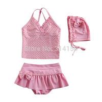 Vivo-biniya Girls Swimwear Children Pink Bowknot Two-piece Bathing Suit Cute Girls Clothing+Shorts+Hats Swimsuit Free Shipping