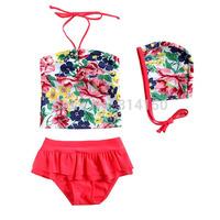 Vivo-biniya Girls Swimwear Flowers Sleeveless Clothes+Red Dress+Hats Two-piece Swimsuit Children Bathing Suit 1pcs Free Shipping