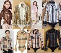 New vogue Spring Autumn Long Sleeve Body Shirt Slim Plaid leopard stripe Casual Women Bodysuit shirts many style