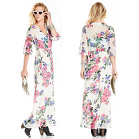 new spring and summer floral prints cross V collar fold Waist Chiffon Dress
