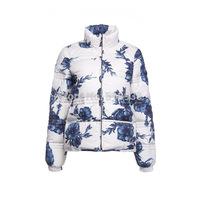 New 2014 autumn winter women luxury brand blue white porcelain print duck down coat short long-sleeve jacket coats outerwear
