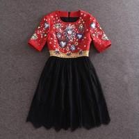 2015 New Spring Women's Casual Dress Fashion Gem Print Patchwork Beading Lace Slim Dress Half Sleeve Elegant Knee-length Dress