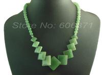 "18"" short Natural green aventurine semi-priecious stone square beaded generate necklace SDN06"