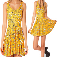 Adventure Time Jake All Over Scoop Skater Dress new 2014 Fashion Women Summer Dress yellow Pleated Dress