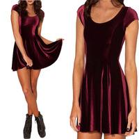 VELVET MULLED WINE EVIL CHEERLEADER 2.0 Women Clothing Party Evening Elegant 2014 Velvet Skater Dresses Pleated Dresses