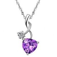 Heart shape purple S990 sterling silver pendant,Free shipping.