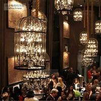 Retro Crystal Chandelier Bird Cage Pendant Hotel Restaurant Bar Club Creative Lamp