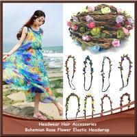 Free Shipping 50pcs/lot Bride Bohemian Rose Flower Elastic Headwrap Garland Hair Band Headwear Hair Accessories