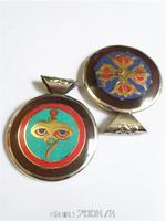 TBP802  Tibetan Yak Horn Inlaid Golden Buddha Eye Amulets Pendants double sides Cross Dorje Amulet