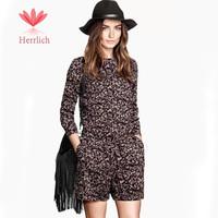 High Quality 2015 Women Long Sleeve Flower Print Black Jumpsuit Macacao Feminino Shorts Female Overalls Monos For Women J13701W