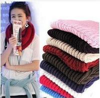 100pcs/lot  Fashion Korean autumn winter scarf women Warm Knit Neck Circle Wool Blend Cowl Snood Ring Scarves Shawl Wrap