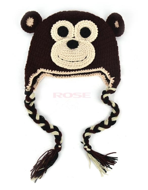 2015 New Fashion Cute Ear Hat Baby Knitted Cap Lovely Baby Girls Boys Animal Crochet Knit Cap Dark coffee(China (Mainland))