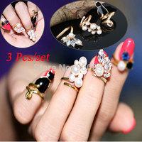 3Pcs/set Crystal Pearl Cat Nail Rings Set For Women Crystal Pearl Gold Plated Finger Nail Ring Set Art Jewelry