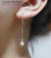 925 sterling silver love love window cubic Women ear line Stud earrings Fashion Classic Jewelry