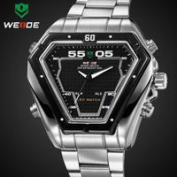 WEIDE fashion men sport dive watch stainless steel watches men digital dual time display  hours 30m waterproof relogio masculino