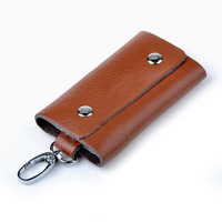 100% Genuine Leather Women Key Wallets Free Shipping Cowhide Leather Men Car Key Bag Clutch Key Holder 6 Rings