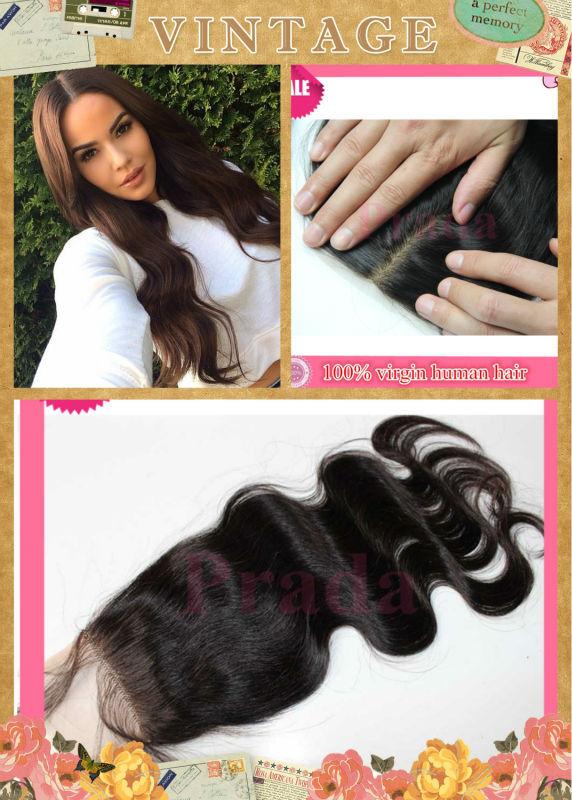 cheap silk base closure 3 part Brazilians hair 4x4 brazilians body wave silk base closure bleached knots natural skin color 1B#(China (Mainland))