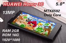 "HUAWEI Honor 3C phone PK P7 2GB RAM 5.0"" IPS MTK6592 Octa Core 3G Mobile Phones 16GB ROM 13MP Camera Android 4.4 Dual SIM+Gifts"