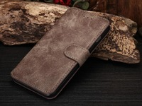 Premium Matte Leather Wallet Case for iPhone 6 6 plus Vintage Leather Flip Case Cover in OPP Bag DHL Free