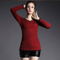 2015 New Arrival Autumn Winter European Style Fashion All Match Women Black Red Lace Collar Warm Velvet Basic Pullovers Sweaters